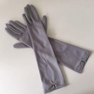 Grey-lavender vintage elbow-length gloves